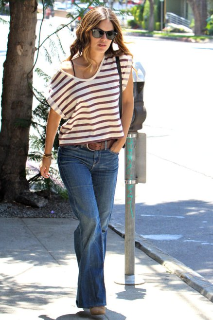 Rachel Bilson StyleChi Stripey Top Sunglasses Flared Jeans