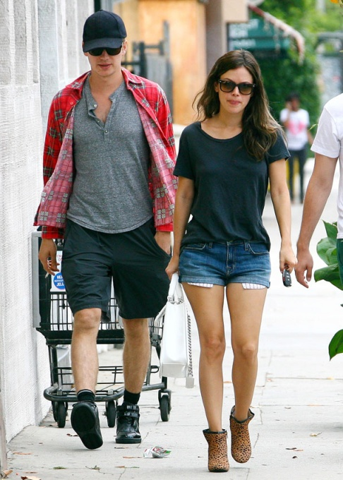 Rachel Bilson StyleChi Sunglasses Navy Casual T-Shirt Shorts Animal Print Boots Hayden