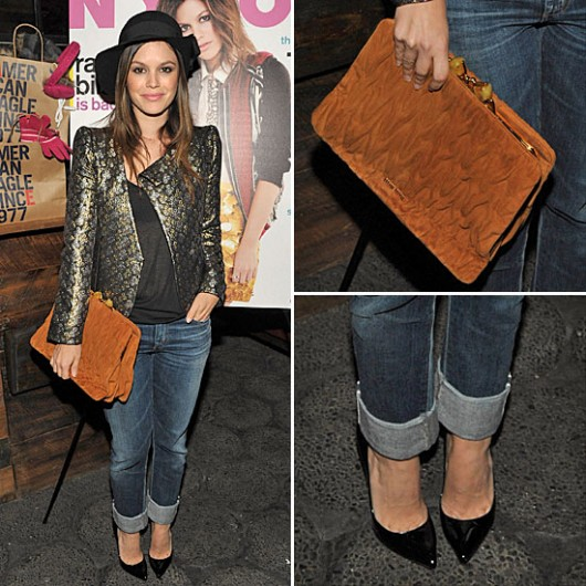 Rachel Bilson StyleChi Tapered Jeans Patent Pointy Heels Shiny Patterned Jacket Brown Clutch Hat