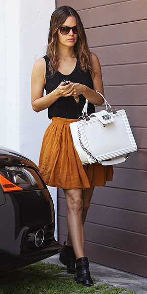 Rachel Bilson StyleChi White Bag Black Tank Top Rust Orange Skirt Black Boots