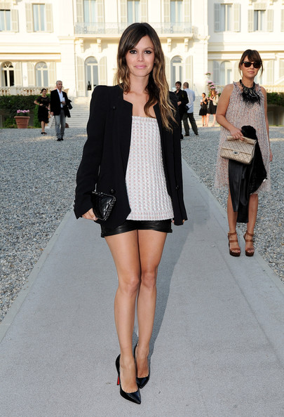 Rachel+Bilson+Chanel+Collection+Croisiere Black Blazer Leather Shorts Patent Heels White Top