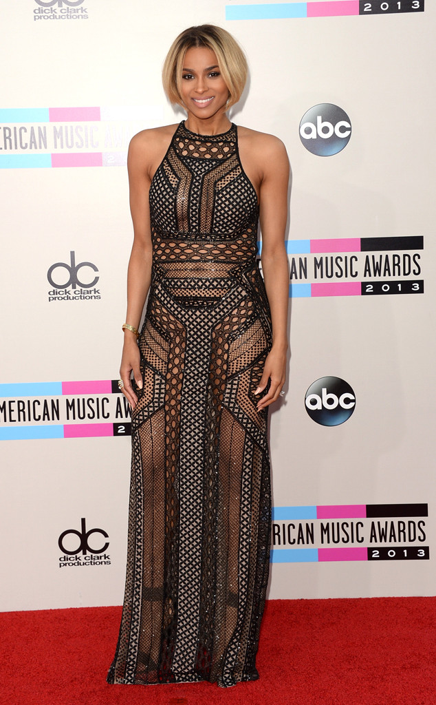Ciara Sheer Black Dress Racer Neck 2013 AMA American Music Awards AMAs