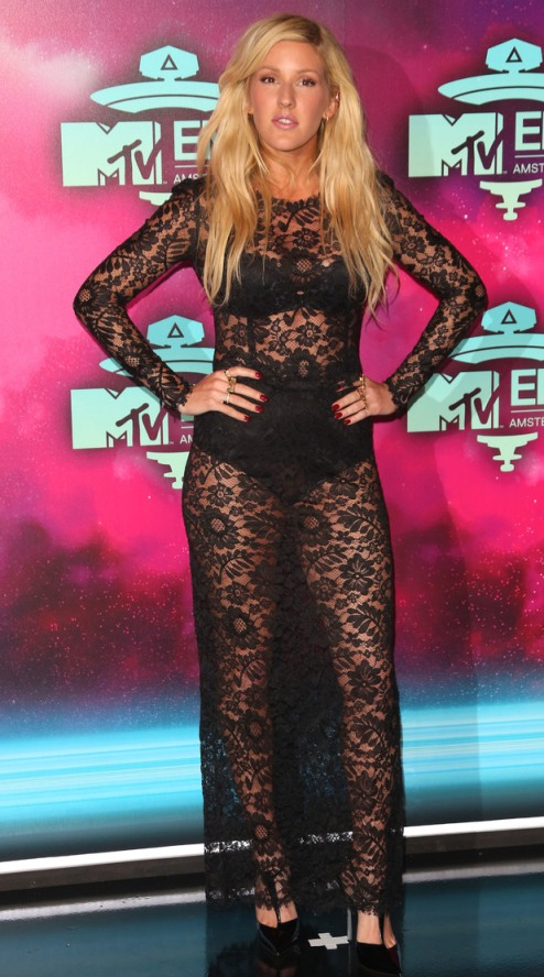 Ellie Goulding Black Lace Dress Underwear Ling Sleeves MTV EMA 2013 Amsterdam StyleChi