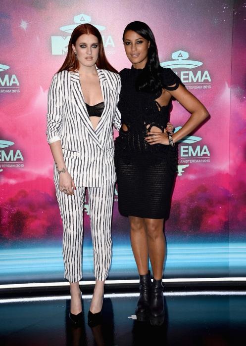 Icona Pop MTV EMA 2013 Amsterdam Black White Stripey Suit Black Crochet Dress StyleChi