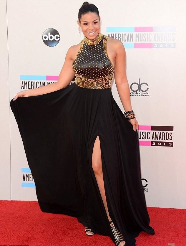 Jordin Sparks Studded Black Dress  AMA American Music Awards AMAs