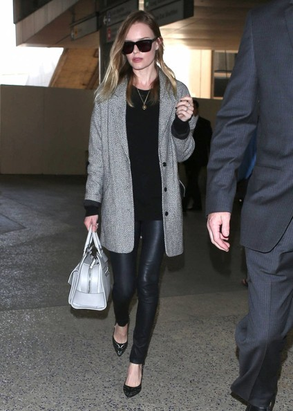 Kate Bosworth StyleChi 2013 Grey Oversized Coat Black Leather Trousers Sunglasses Black Sweater Embellished Pointed Black Flats