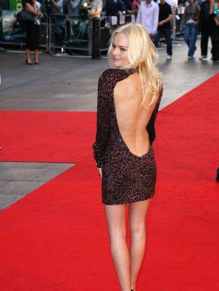 Kate Bosworth StyleChi Animal Print Backless Long Sleeve Short Burgundy Dress Red Carpet