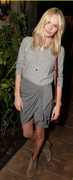Kate Bosworth StyleChi Audi Party Grey Jersey Top Tulip Skirt Suede Beige Boots