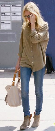 Kate Bosworth StyleChi Beige Shirt Blue Denim Jeans Sunglasses