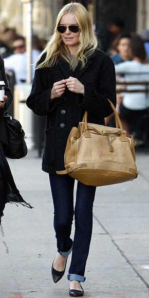 Kate Bosworth StyleChi Black Fluffy Double Breasted Coat Beige Bag Aviator Sunglasses Black Pointed Flats