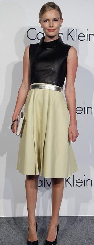 Kate Bosworth StyleChi Black Leather High Neck Top Yellow Midi Skirt Silver Belt