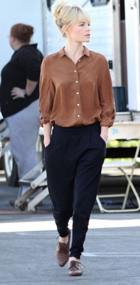 Kate Bosworth StyleChi Brown Boyfriend Shirt Pointed Derby Shoes