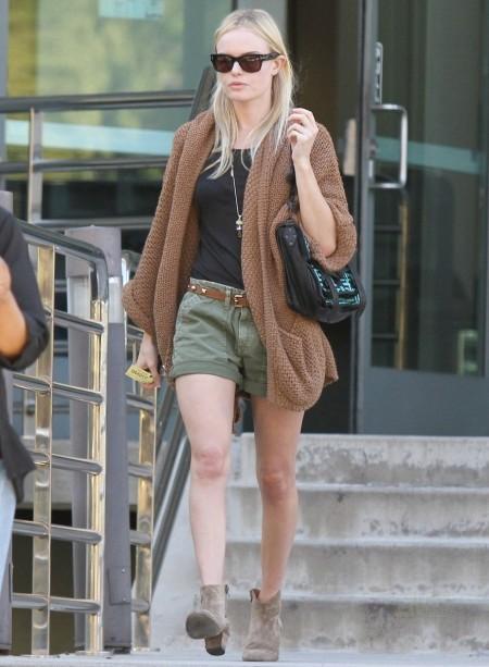 Kate Bosworth Brown Oversized Cardigan Khaki Shorts StyleChi Sunglasses Suede Booties
