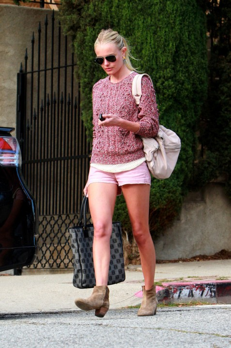 Kate Bosworth StyleChi Casual Marl Burgundy Cable Knit Sweater Pink Cut Off Shorts Beige Suede Booties Sunglasses