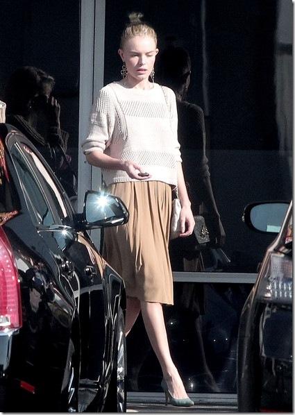 Kate Bosworth StyleChi Cream Knitted Sweater Beige Knee Length Skirt