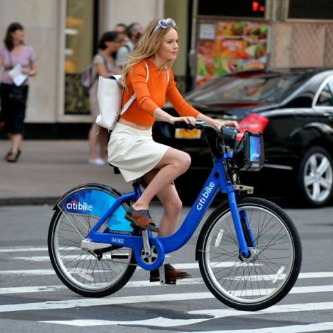 Kate Bosworth StyleChi Cycling White Skirt Orange Top Sunglasses Derby Shoes