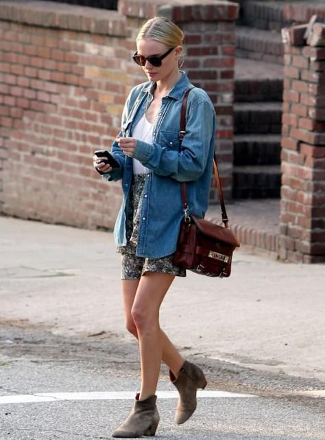 Kate Bosworth StyleChi Dark Denim Shirt Floral Skirt Beige Suede Boots Brown Satchel