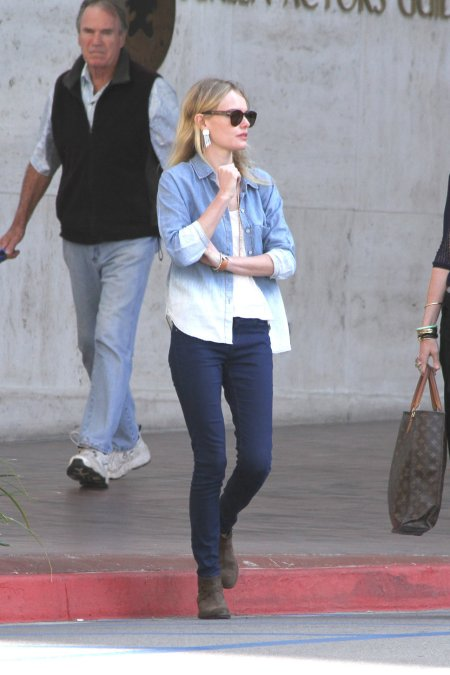 Kate Bosworth StyleChi Dip Dye Denim Shirt Jeans Sunglasses