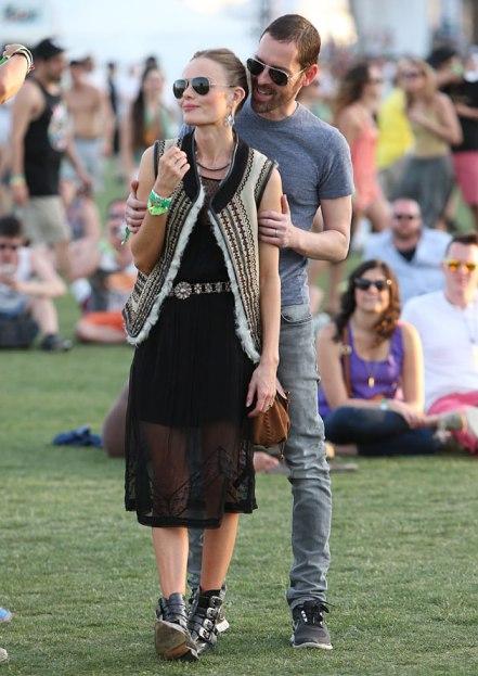 Kate Bosworth StyleChi Festival Style Coachella Boyfriend Multi Strap Black Boots Ethnic Gilet Waistcoat Black Sheer Midi Dress Sunglasses