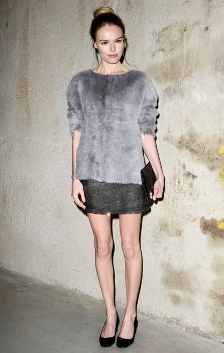 Kate Bosworth StyleChi Grey Fluffy Sweater Dark Grey Skirt Black Ballerinas