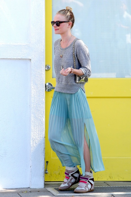 Kate Bosworth StyleChi Grey Slouch Jumper Aqua Split Pleated  Maxi Skirt Isabelle Marrant Trainers