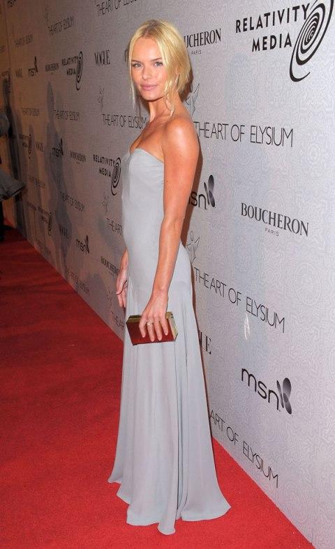 Kate Bosworth StyleChi Grey Strapless Dress Updo