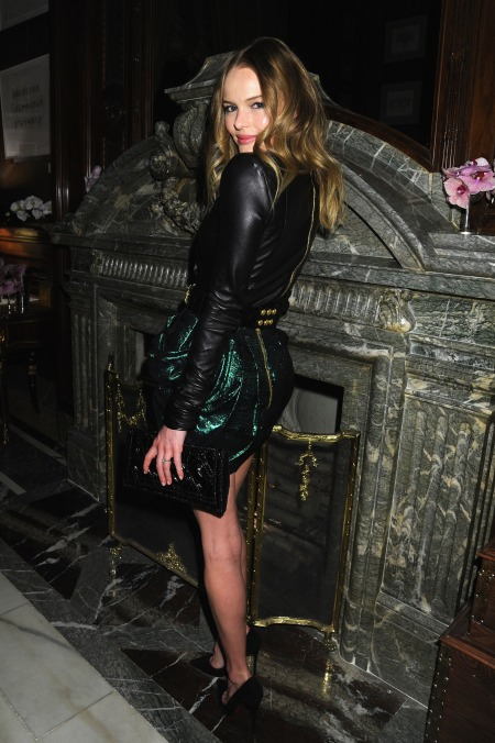Kate Bosworth StyleChi Leather Long Sleeved Top Green Puff Ball Glittery Skirt Clutch
