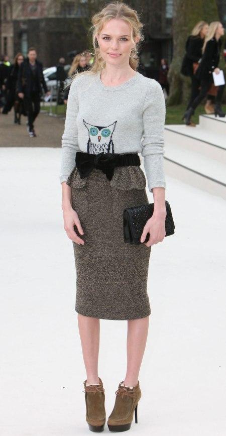 Kate Bosworth StyleChi London Fashion Week Peplum Pencil Skirt Grey Owl Sweater Black Bow Belt Clutch