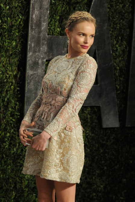 Kate Bosworth StyleChi Long Sleeved Floral Embellished Short Dress Braided Hair