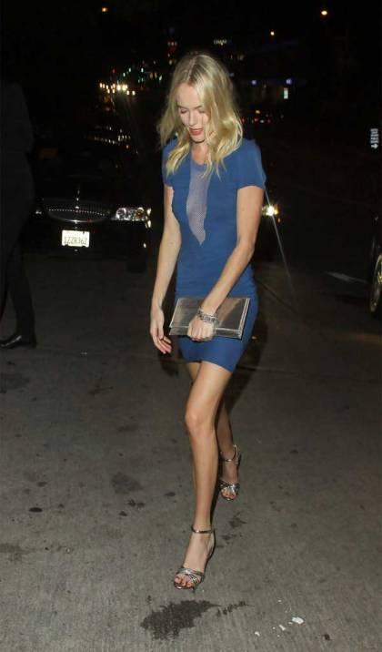 Kate Bosworth StyleChi Metallic Clutch Blue Bodycon V-Mesh Short Sleeved Dress