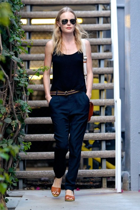 Kate Bosworth StyleChi Navy Blue Vest Top Trousers Brown Sandals Aviator