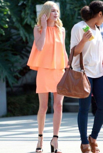 Kate Bosworth StyleChi Neon Orange Cami And Skirt Heeled Sandals