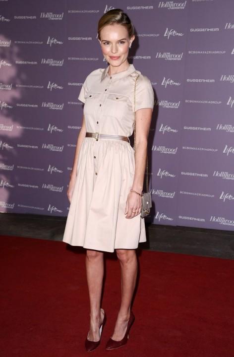 Kate Bosworth StyleChi Nude Belted Shirt Dress Burgundy Heels