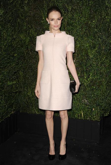 Kate Bosworth StyleChi Nude Short Sleeved Dress