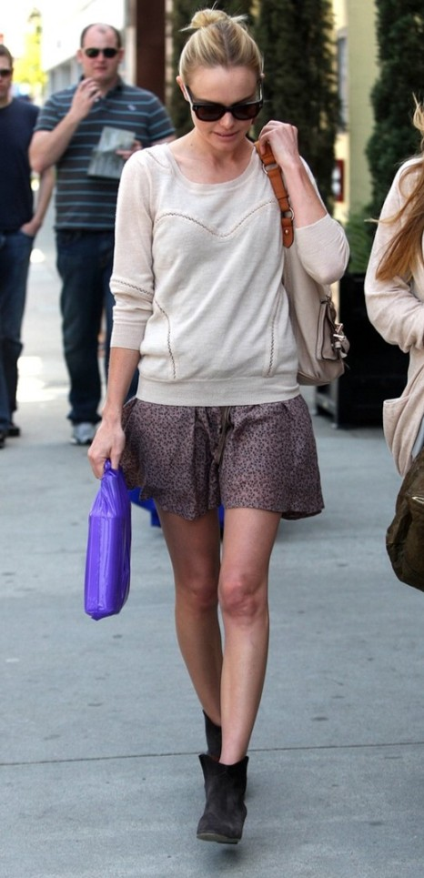 Kate Bosworth StyleChi Patterned Skirt Jumper Suede Charcoal Boots