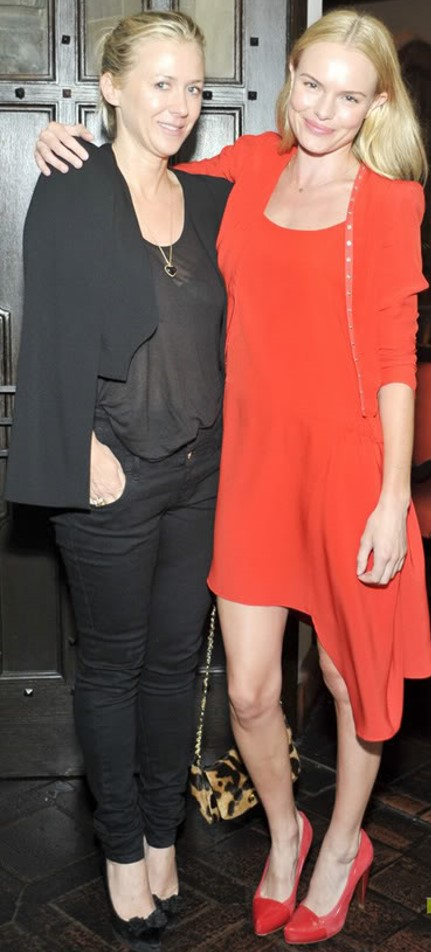 Kate Bosworth StyleChi Red Asymmetric Dress Red Cardigan Red heels