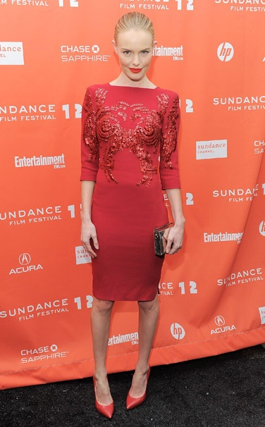 Kate Bosworth StyleChi Red Midi Bodycon Embellished Dress Red Pointed Heels