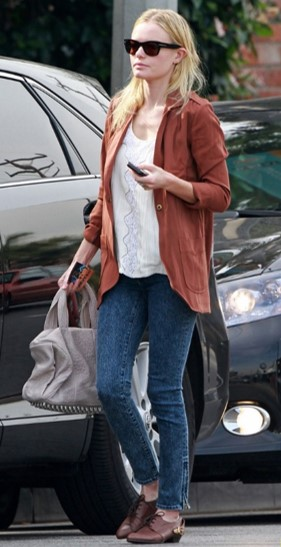 Kate Bosworth StyleChi Rust Open Shirt Acid Wash Jeans Heeled Derby Shoes White Top Sunglasses