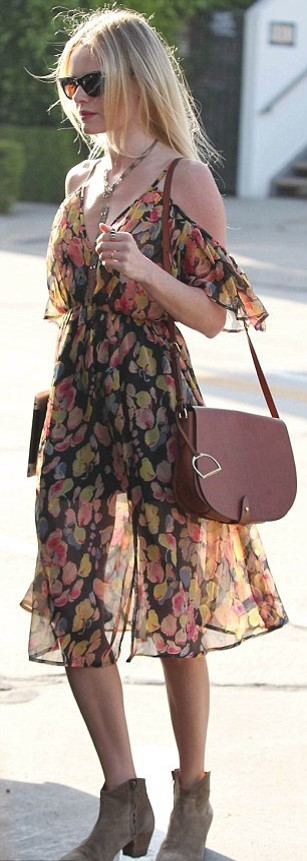 Kate Bosworth StyleChi Sheer Floral Dress Beige Suede Boots Sunglasses Cross Body Bag