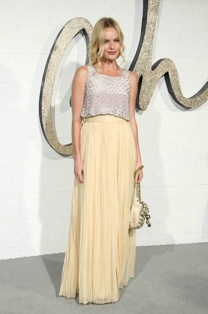 Kate Bosworth StyleChi Silver Studded Sleeveless Top Yellow Tulle Maxi Skirt