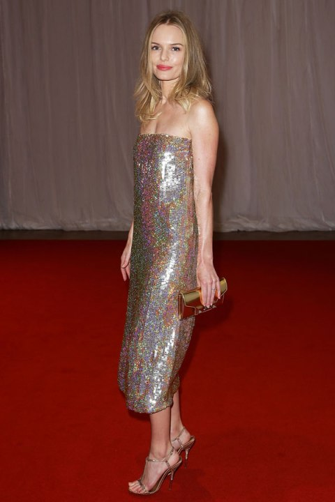 Kate Bosworth StyleChi Strapless Hologram Silver Glitzy Dress