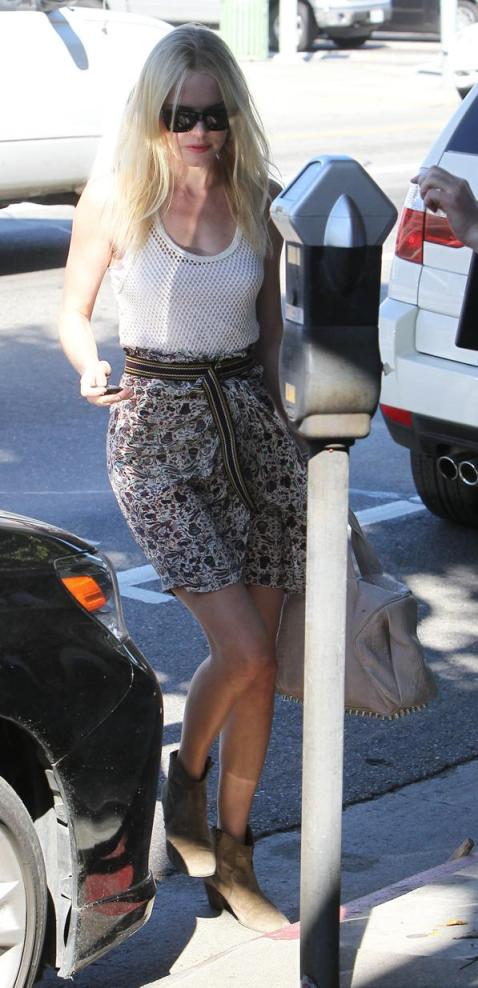 Kate Bosworth StyleChi Street Style Isabel Marant Skirt and Boots Fishnet White Top 2011
