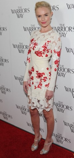 Kate Bosworth StyleChi Warrior Screening White Long Sleeved Midi Dress Floral Lace Inserts Silver Glitz Sandals