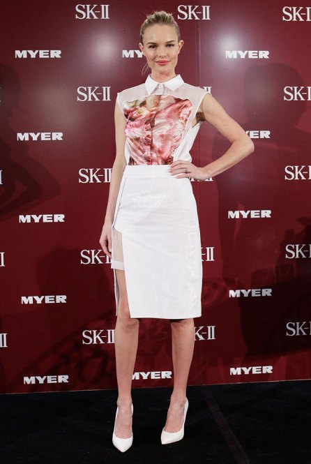 Kate Bosworth StyleChi White Asymmetric Skirt Floral Panel Sleeveless White Shirt