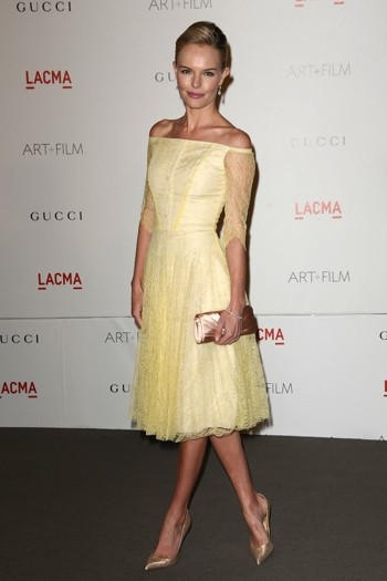 Kate Bosworth StyleChi Yellow Off The Shoulder Lace Knee Length Dress