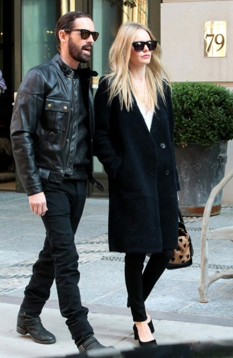 Kate+Bosworth+Michael+Polish+New+York StyleChi Long Black Fluffy Coat Black Jeans Heels Sunglasses Heart Print Bag