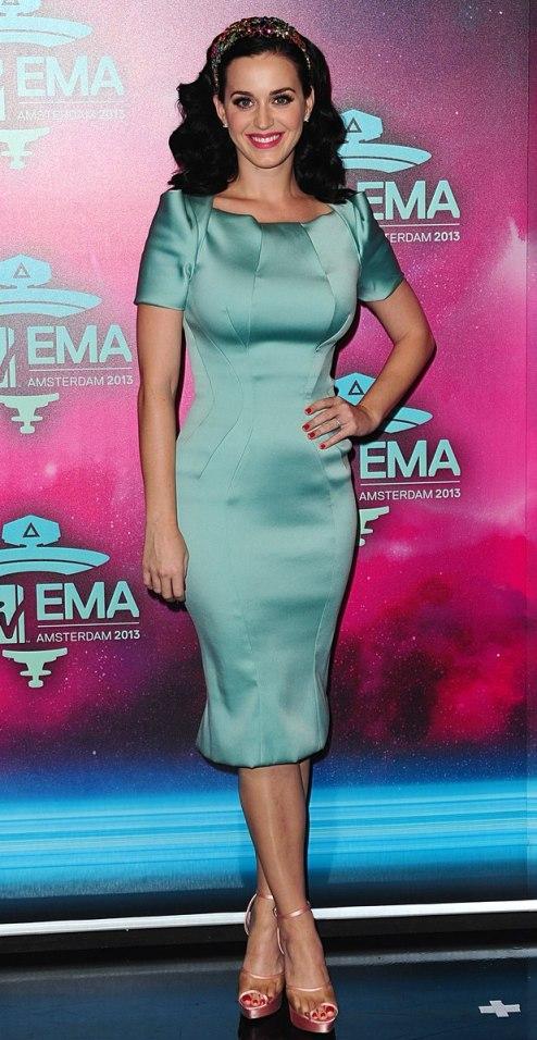 Katy Perry Aqua Silk Satin Midi Dress EMA 2013 Amsterdam MTV
