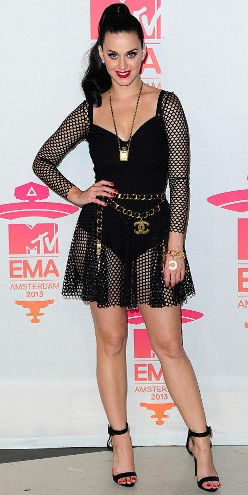 Katy Perry StyleChi EMA Amsterdam 2013 Black Fishnet Dress