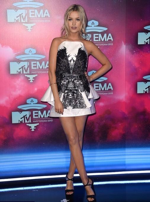 Laura Whitmore White Strapless Dress Black Lace MTV EMA  Amsterdam StyleChi