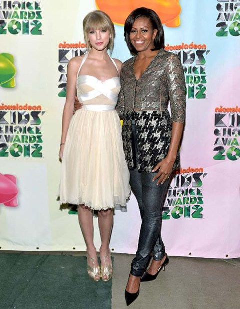 Michelle-Obama-fashion-Taylor-Swift-style-at-Kids'-Choice-Awards StyleChi White Dress